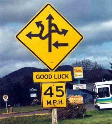 "Yellow diamond shaped highway road sign with confusing arrows pointing in every direction with a 45 MPH speed limit sign. The words ""Good Luck"" are attached between the two signs."