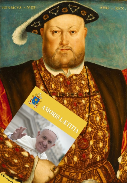 Painting of King Henry the VIII holding a copy of Amoris Laetitia by Pope Francis.