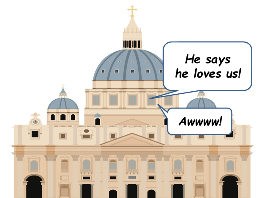 Cartoon depiction of Vatican