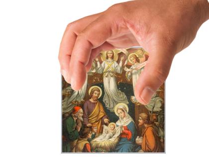 Large Hand grabbing a Nativity Scene