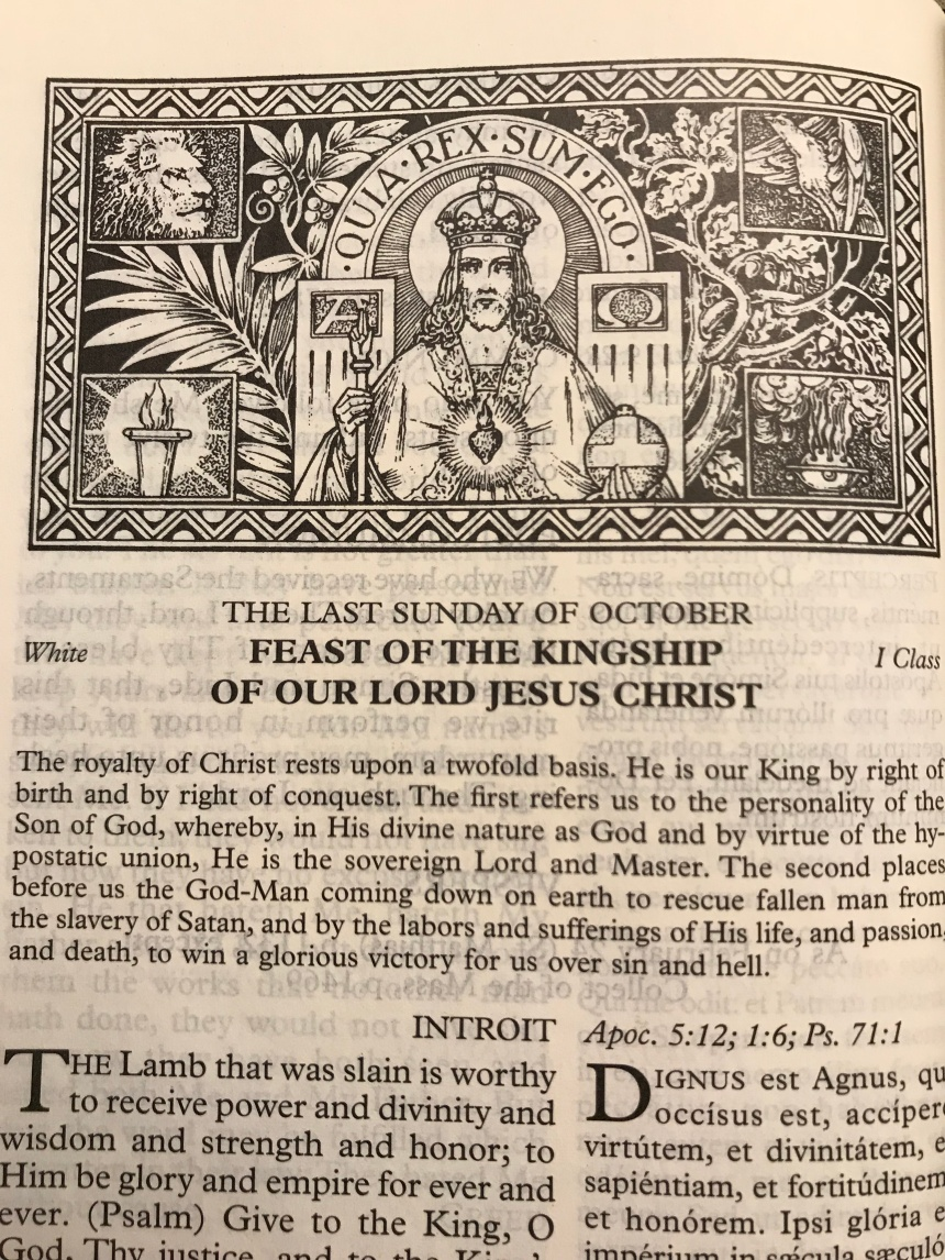 Page from Latin Mass Missal. Christ holding the orb and scepter and wearing a crown.