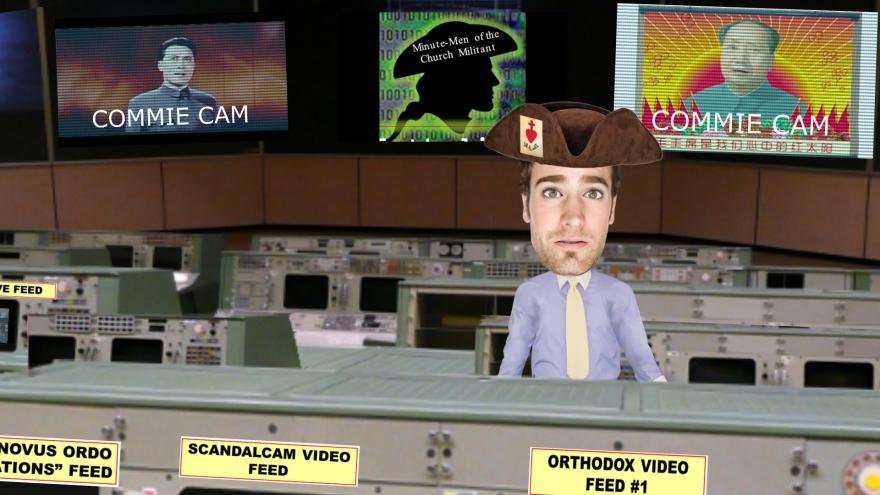 Newsroom with cyber militiaman