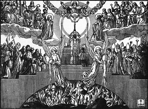 People surrounded by flames being aided by angels as two ranks of people look on.