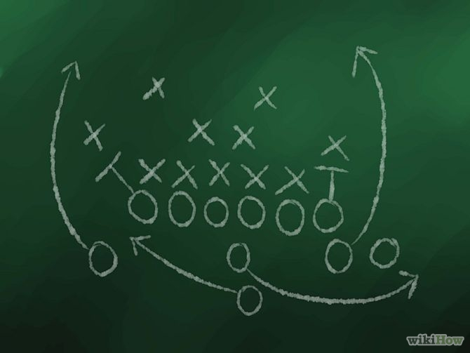 Chalkboard depicting a complex football play.